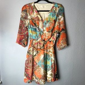 Umgee boho print belted dress orange/blue size med